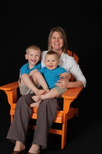 Mother with kids in lawn chair
