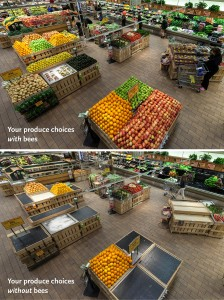 Grocery Store Scene With and Without Bees